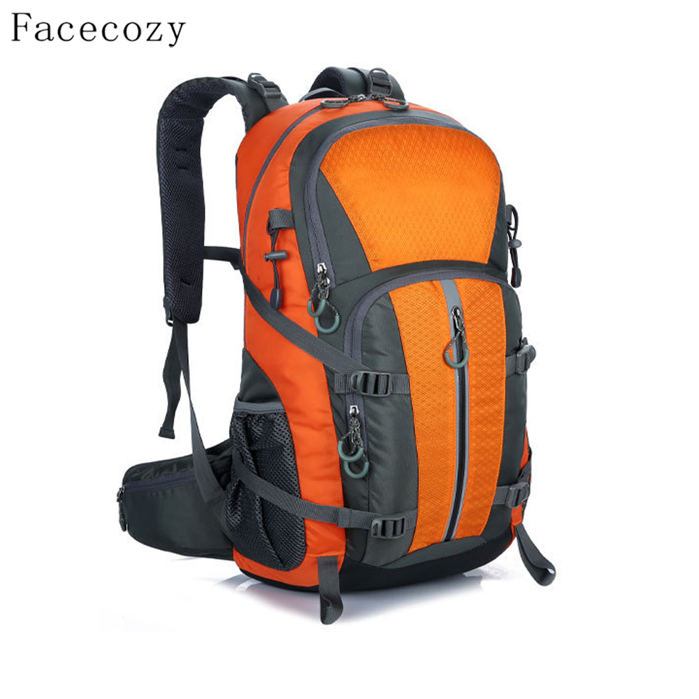 Facecozy Men&Women Outdoor Camping Backpack 40L Unisex Sport Bag Mid Waterproof Solid Color Bags For Climbing Hunting Fishing