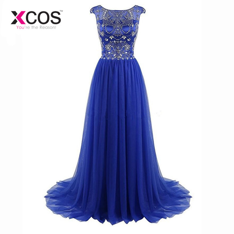 XCOS Robe De Soiree Longue 2018 Royal Blue Evening Dresses Long Crystal Beads Prom Gowns Tulle Cap Sleeve Formal Dress