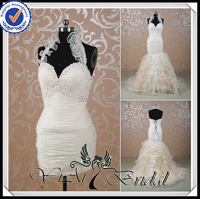 RSW515 Trumpet Champagne Detachable Skirt Wedding Dress Ruffles