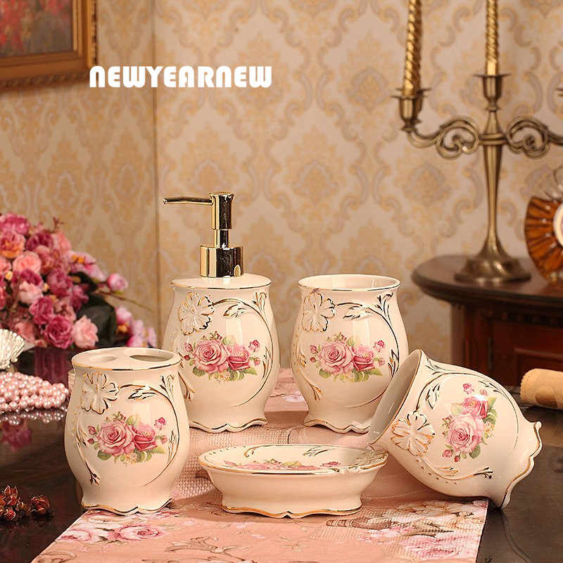 newyearnew ceramic european style bathroom accessories set with rose home decoration wedding gift love creative valentine