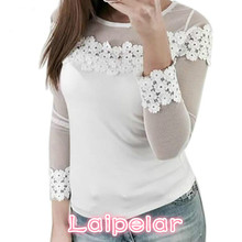 T Shirt Women 2018 New Women's Spring Autumn Mesh Lace Patchwork Elastic Pullover Long Sleeve O-Neck Slim Fashion TShirt Tops new spring autumn kids baby girl s lace flower pattern shirt tops long sleeve blouse pullover o neck white costumes
