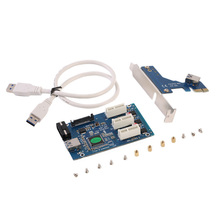 PCI-E Express 1X to 3 Port 1X Switch Multiplier HUB Riser Card +USB Cable XXM8