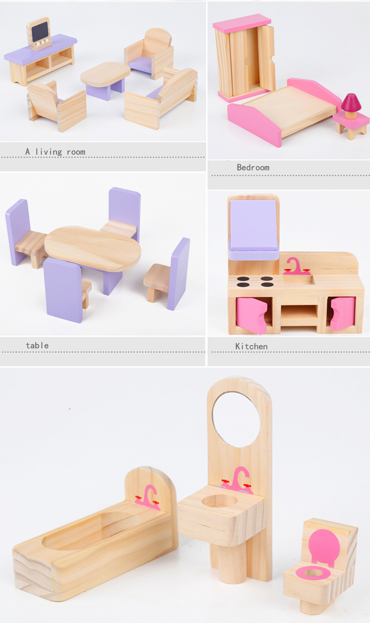 CUTEBEE-Pretend-Play-Furniture-Toys-Wooden-Dollhouse-Furniture-Miniature-Toy-Set-Doll-House-Toys-for-Children-Kids-Toy-3