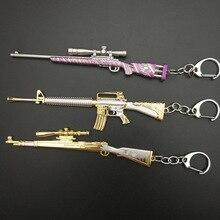 Game PUBG Keychain AWM 98K Pan ALL Rifle Model Playerunknown's Battlegrounds Cosplay Props Alloy Armor Key Chain llaveros Key