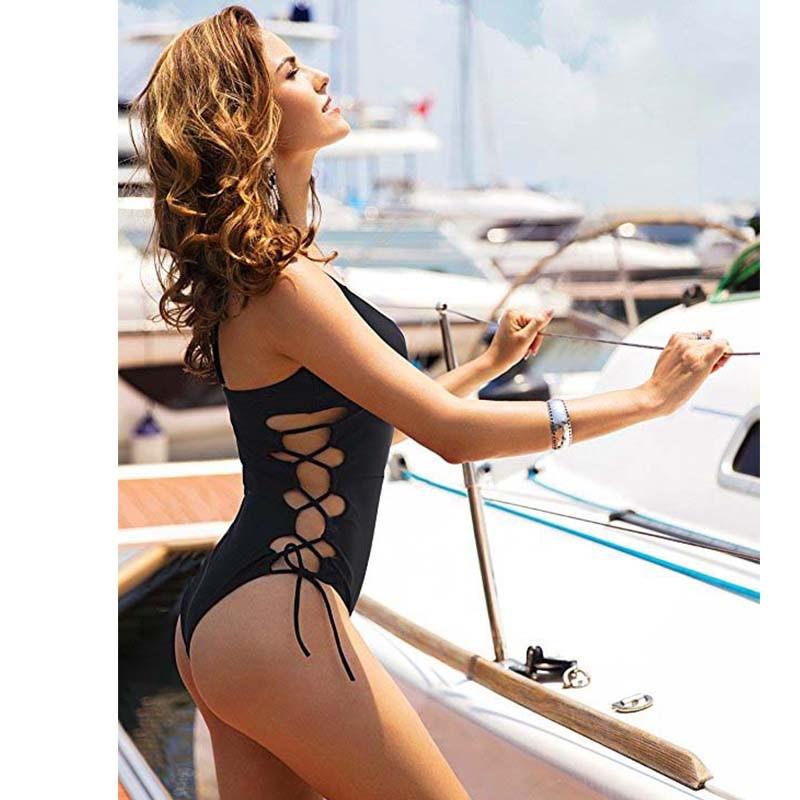 NAKIAEOI 2018 New One Piece Swimsuit Women Swimwear Sexy Bandage Bathing Suit Backless Cut Out Monokini Bodysuit Beach Wear Swim 5