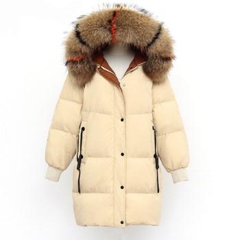 2019 Winter Parkas Coat Women Windproof Parkas Real Raccoon Fur Collar Long Down Parkas Jacket Outwear Thick Warm Puffer Jackets фото