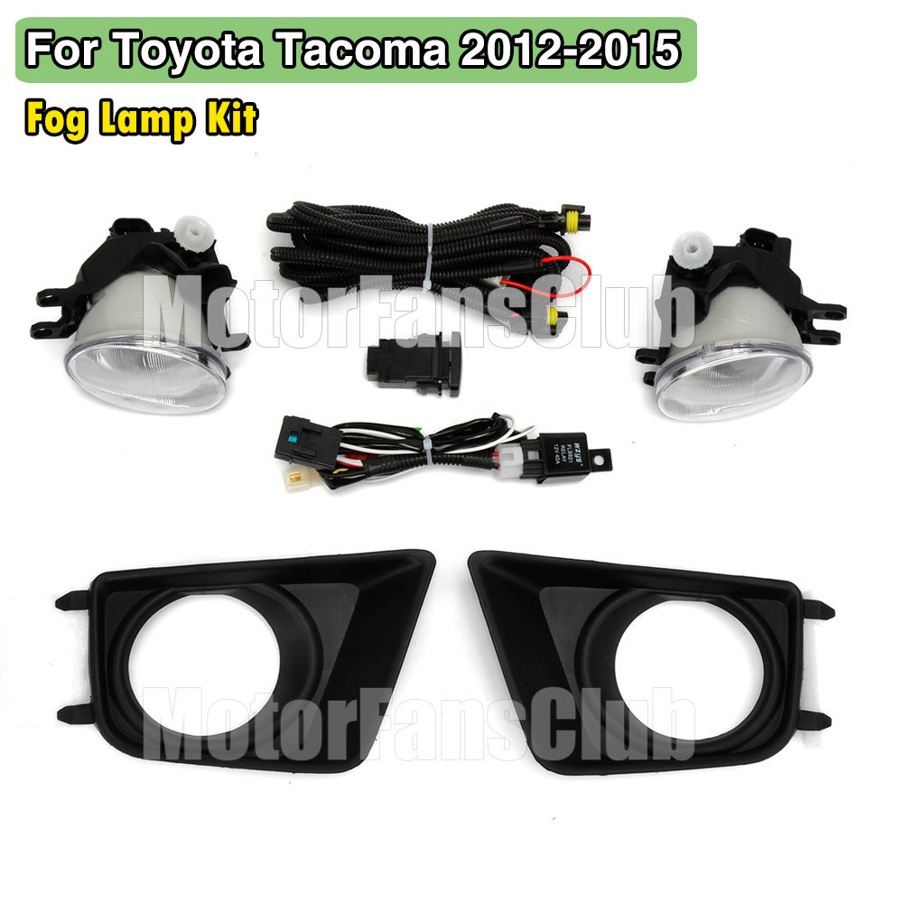 2pcs led fog lamp kit drl for toyota tacoma 2012 2013 2014 2015 wiring  relay harness + switch
