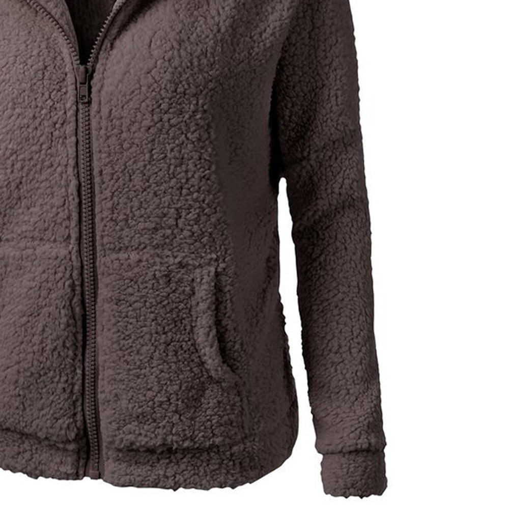 HTB1sqNEX6DuK1Rjy1zjq6zraFXah Women Solid Color Coat Thicken Soft Fleece Winter Autumn Warm Jacket Hooded Zipper Overcoat Female Fashion Casual Outwear Coat