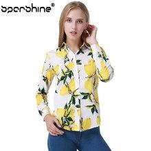 SPARSHINE Blusas Mujer De Moda 2017 Yellow Lemon Printing Long Sleeve Casual Blouse Ladies Office Shirt Women Tops Plus Size 5XL