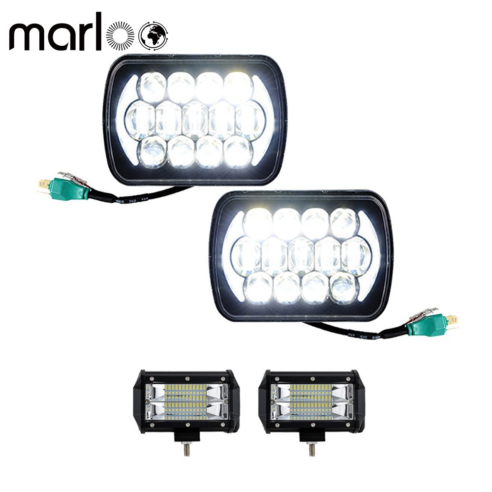 Marloo 4pcs 5x7 6x7 Rectangular LED Headlight DRL + 5 Inch 72W Work Lights For Jeep Wrangler YJ Cherokee XJ Comanche MJ H6054 pair 5x7 led headlight rectangular 6x7
