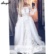 Detachable Muslim Wedding Dresses Long Sleeves
