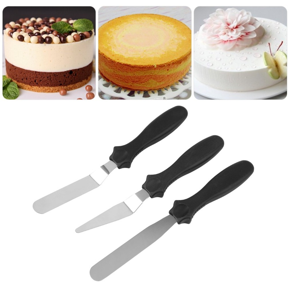 3pcsset Angled Cake Spatula Spread Icing Cream Cake