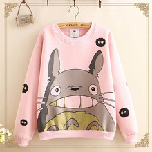 Фотография 4 colors Totoro Cute Kawaii Sweatshirt Harajuku Style Hoodies Warm Long Sleeve Hoodies for Girls Fashion Hot selling Top