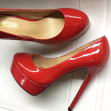 Macytino Red Patent Leather Platform Pumps 14CM Women Party Dress Shoes Round Toe