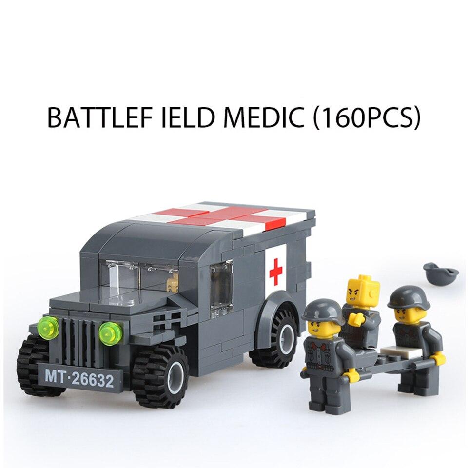 Champ De Bataille Voiture Médicale 160 Pièces Blocs Ensembles Legoings Soldats Militaires Briques L'armée Assemblage Granulaire Jouets Enfants Cadeaux