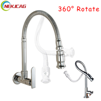 Free Shipping Chrome Finished Single Handle Wall Mounted Kitchen Faucet Cold Water Brass Kitchen Taps