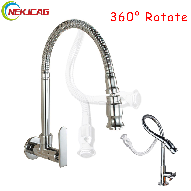 Free Shipping Chrome Single Handle Kitchen Faucet Cold Water Faucet Wall Mounted Brass Kitchen Taps 360