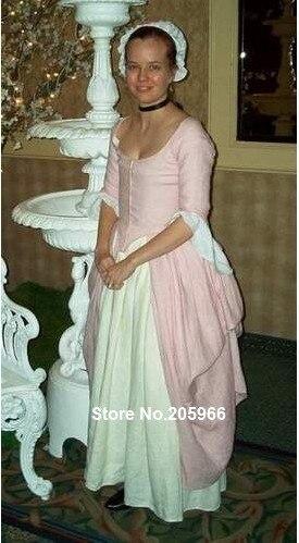 Custom Made late 18th Century Polonaise White&pink Linen Bustle Victorian Dress/Theater dress/Event Dressg Wearing