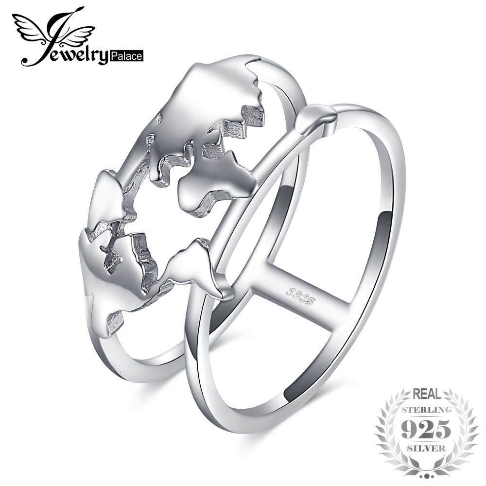 JewelryPalace 925 Sterling Silver World Map Split Shank Double Band Statement Ring For Women As Beautiful Gifts New Hot SaleJewelryPalace 925 Sterling Silver World Map Split Shank Double Band Statement Ring For Women As Beautiful Gifts New Hot Sale