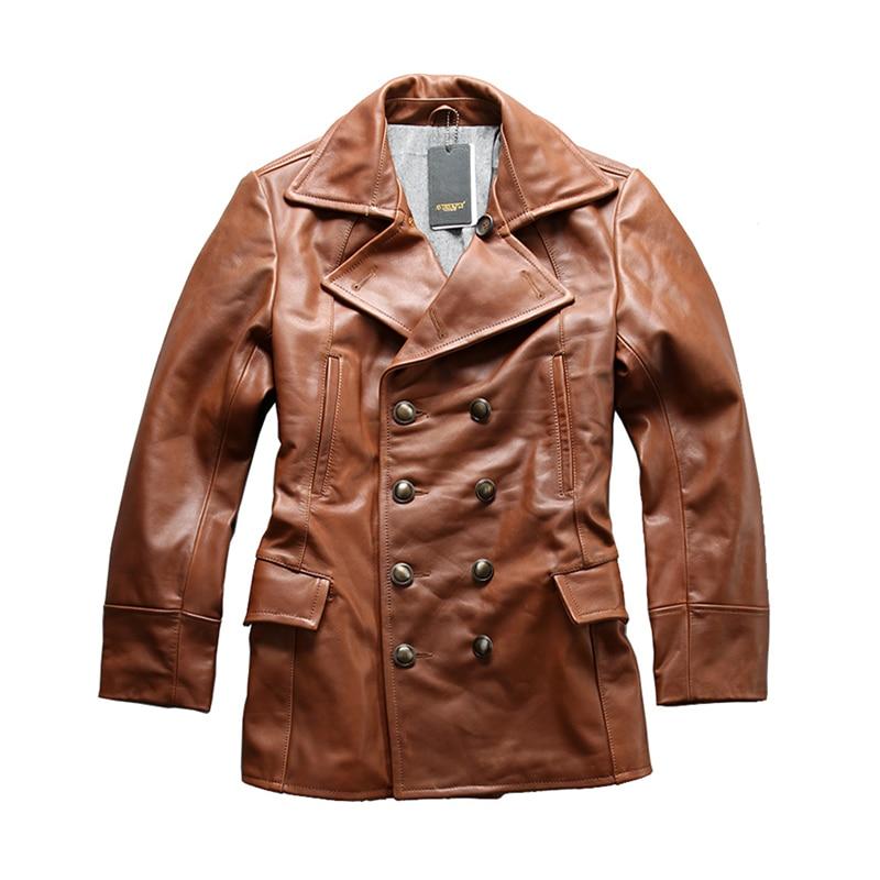 Leggere la Descrizione! formato asiatico eccellente del cuoio della mucca inverno uomo giacca classica pelle di vacchetta pea coat A1730