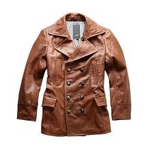 Read Description! Asian size excellent cow leather winter jacket men's classic cowhide leather pea coat A1730