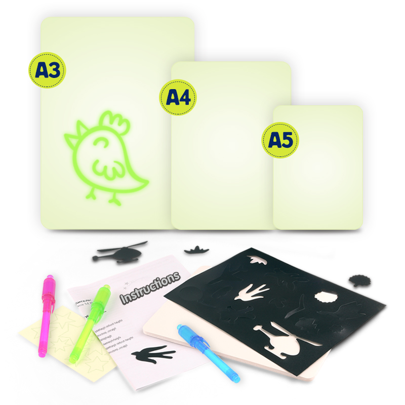 Luminous LED Draw With Light In Dark Children Toys Tablet Magic Drawing Board Set Fluorescent Pen Educational Noctilucent Kids