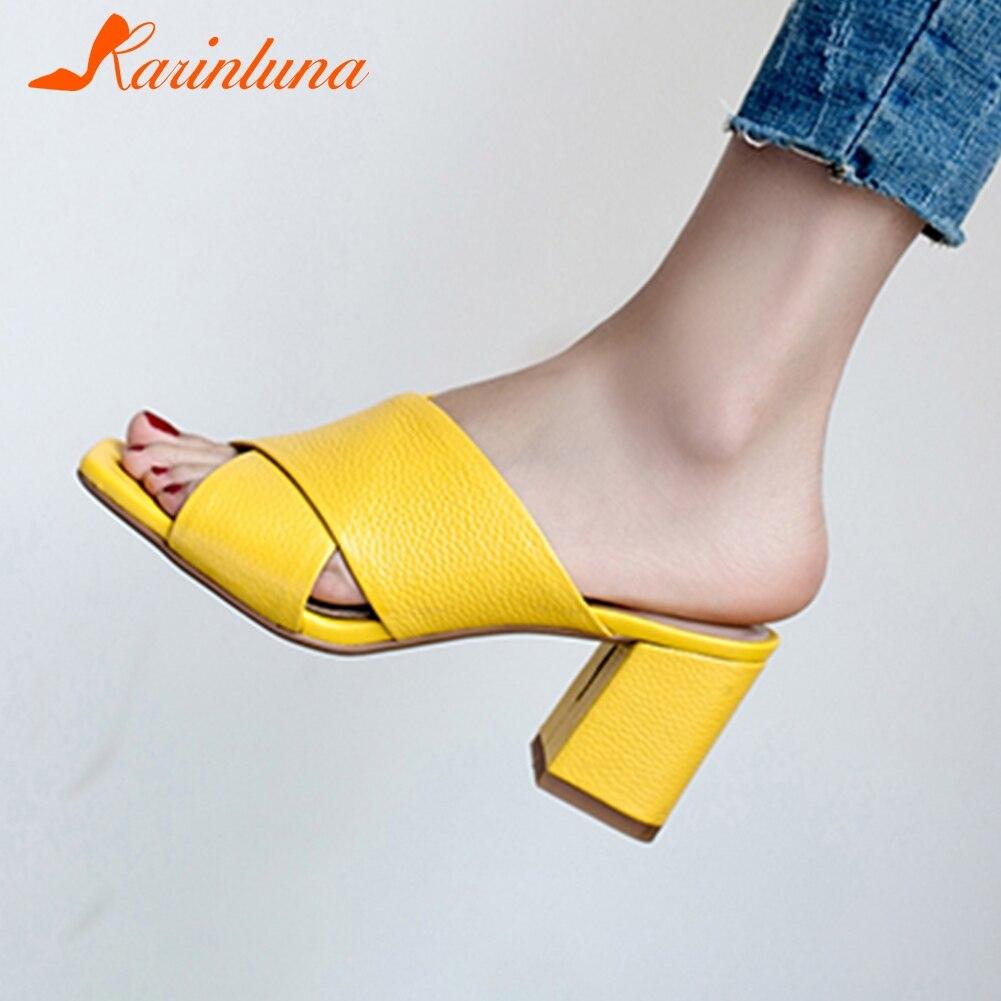 KARINLUNA/Новые лаконичные туфли из натуральной кожи женские летние шлепанцы на высоком каблуке, стелька из овчины женская обувь женские Размер...