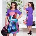 2017 diseñador de moda las mujeres de gran tamaño maxi dress plus size 6xl imprimir flor casual straight longitud de la rodilla vestidos de fiesta de verano