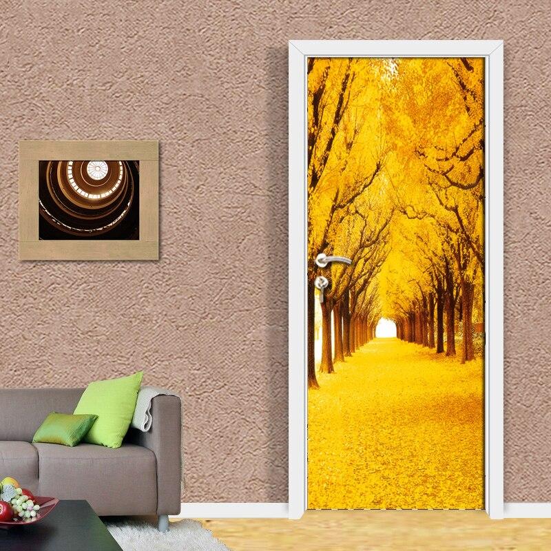 PVC Waterproof Door Sticker Wallpaper Mural Modern Golden Woods Tree Natural Landscape Room Door Decoration Papel De Parede 3D