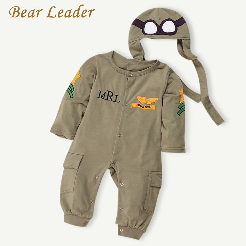 Bear Leader NEW Baby Rompers Fashion Autumn Boys Clothing Sets Long Sleeve Baby Jumpsuit+Hat 2pcs Newborn Clothes For Boy Winter baby overalls long sleeve rompers clothing cotton dog anima 2017 new autumn winter newborn girl boy jumpsuit hat indoor clothes