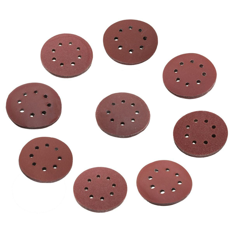 10pcs 5 Inch 125mm Sander Disc Round Sandpaper Eight Hole Disk Sand Sheets Grit 60 2000 Hook Loop Sanding Disc Polish Tools in Abrasive Tools from Tools