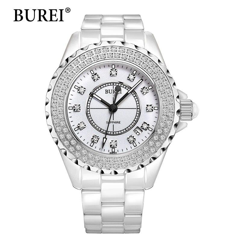 Watch Women BUREI Top Fashion Brand Female Casual Clock Diamond Sapphire Calendar Ceramic Waterproof Quartz Wristwatches
