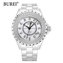 Reloj de las mujeres burei top marca de moda femenina ocasional calendario de zafiro de cerámica de cuarzo resistente al agua reloj de diamantes de pulsera nueva caliente