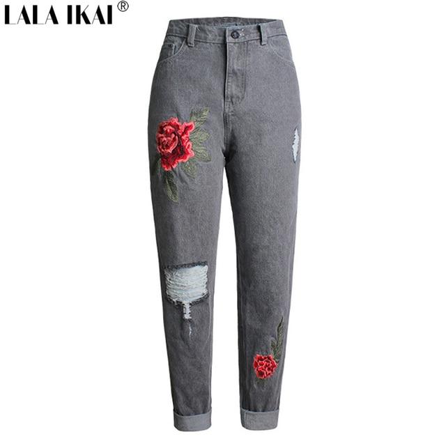 e32a4c95944 LALA IKAI Boyfriend Embroidery Printed Jeans Women High Waist Ripped Distress  Denim Pants Destroyed Button Trousers KWA0496-45