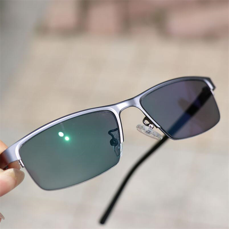 Image 2 - 0  0.5  0.75 To  4 Half Frame Photochromism Myopia Glasses Men Metal Square Sun Discoloration Short sighted Eyeglasses Women-in Men's Sunglasses from Apparel Accessories on AliExpress