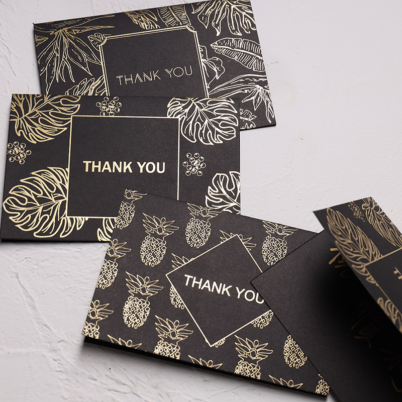 10pcs/lot Creative Greeting Card Set Foil Rainforest Thank You Card For Birthday Christmas With Envelope Writing Gift Stationery