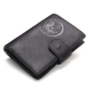 Image 2 - Portomonee homem carteira curta walet carteira de couro genuíno com titular do cartão capa de passaporte