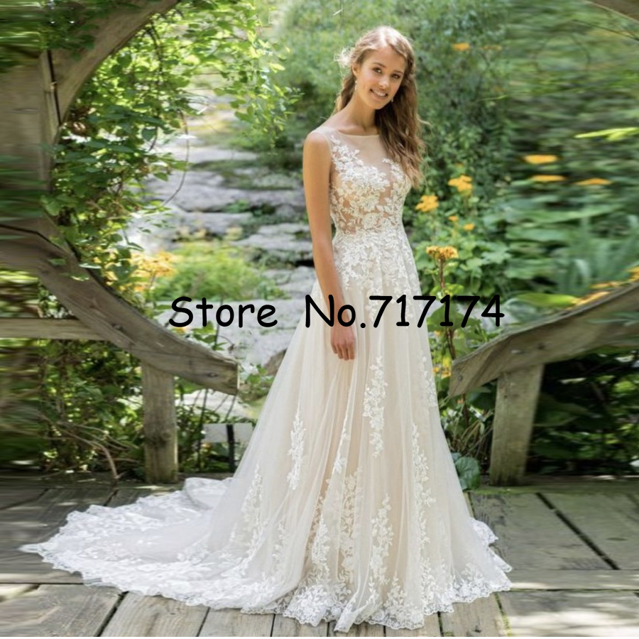 Scoop Neckline Illusion Tulle Lace Long A line Wedding Dress with Backless Sweep Train Applique Edges