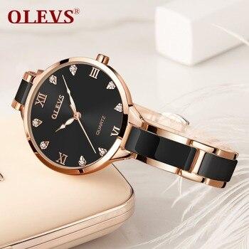 OLEVS Rose Gold Luminous Black Steel Ceramic Watches