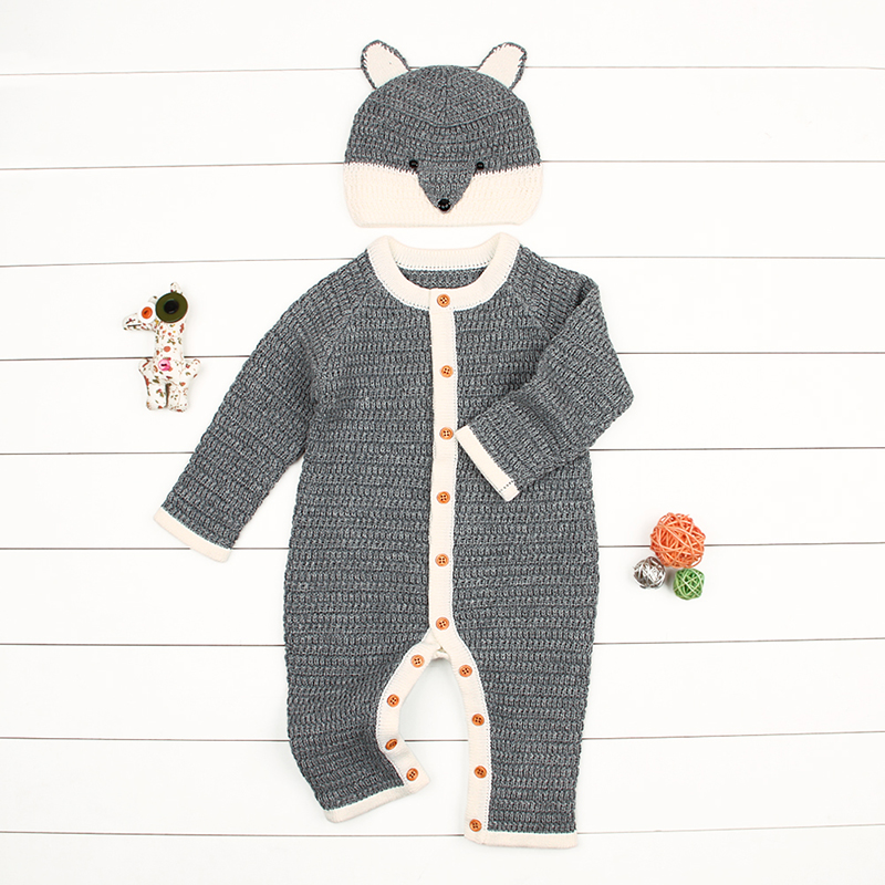 CieiK Baby Clothes Boy Girl Spring Romper+Hat 2 pcs/lot 2018 Knitted Jumpsuit Newborn Costume Warm Overall Infant Winter Outwear skullies beanies newborn cute winter kids baby hats knitted pom pom hat wool hemming hat drop shipping high quality s30