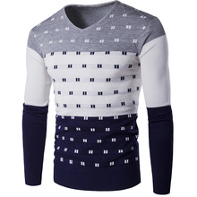 2017 autumn poka dot pullover mens sweater good quality v-neck knitting patterns mens sweaters size 2xl