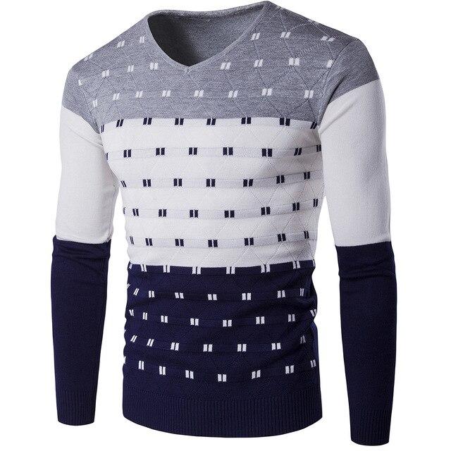 2017 Autumn Poka Dot Pullover Mens Sweater Good Quality V Neck