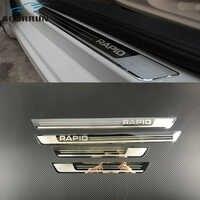 Voiture-style acier inoxydable côté porte éraflure plaque seuil de porte garniture ajustement voiture accessoires pour Skoda Rapid 2012 2013 2014 2015-2018