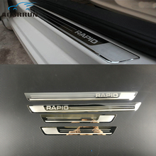 Автомобиль-Стайлинг Нержавеющаясталь боковой двери Накладка порога отделка Fit автомобильные аксессуары для Skoda Rapid 2012 2013 2014 2015-2018