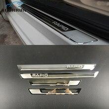 Plaque de garniture de porte latérale en acier inoxydable, accessoires de voiture pour Skoda Rapid 2012 2013 2014 2015-2018