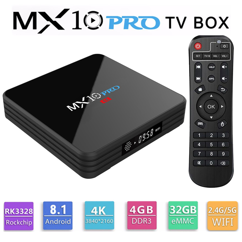 MX10 PRO caja de TV con pantalla Digital Rockchip 3328 Android 8,1 4 GB de RAM 32 GB ROM 2,4g 5G WiFi reproductor de medios BT4.1 soporte 4 K H.265