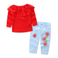 Children Girl Fashion Clothes Set Fall Kid Baby Girl Long Sleeve T-Shirt+Floral Denim Pants 2017 New Hot Girls Clothing Set 1-7Y