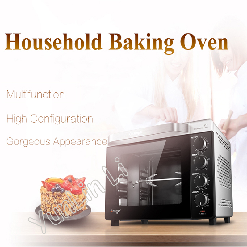 32L Household Baking Oven Multi-Functional Electric Oven Cake Bread Enameled Oven With Big Capacity CRTF32K multi function home mechanical 19l electric oven horizontal cake bread baking machine mini oven temperature control timing gift