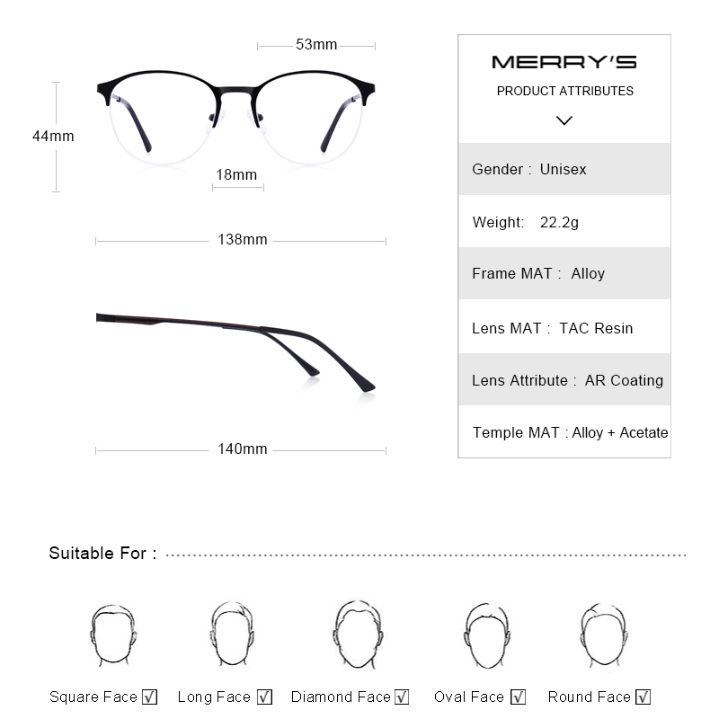 Image 4 - MERRYS Unisex Fashion Oval Glasses Frame Men/Women Myopia Prescription Half Optical Eyeglasses S2042-in Men's Eyewear Frames from Apparel Accessories on AliExpress