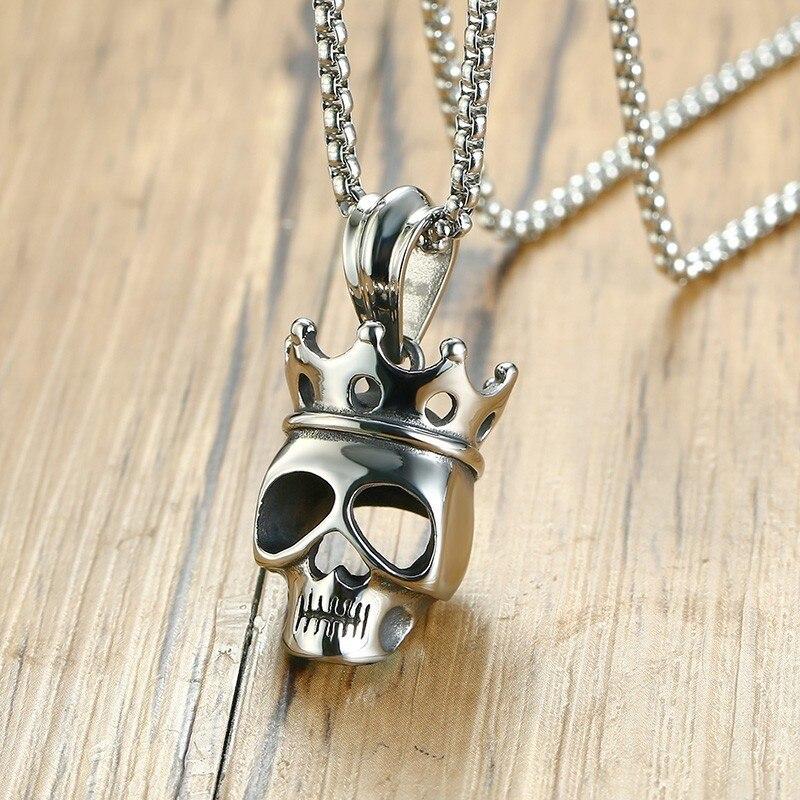 Gothic Skull Pendenti con gemme e perle Con Queen Corona Per Le Donne Degli Uomini di Trasporto Libero Della Collana di Collegamento Della Catena 24